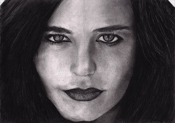 Eva Green tekening (houtskool) / drawing (charcoal)
