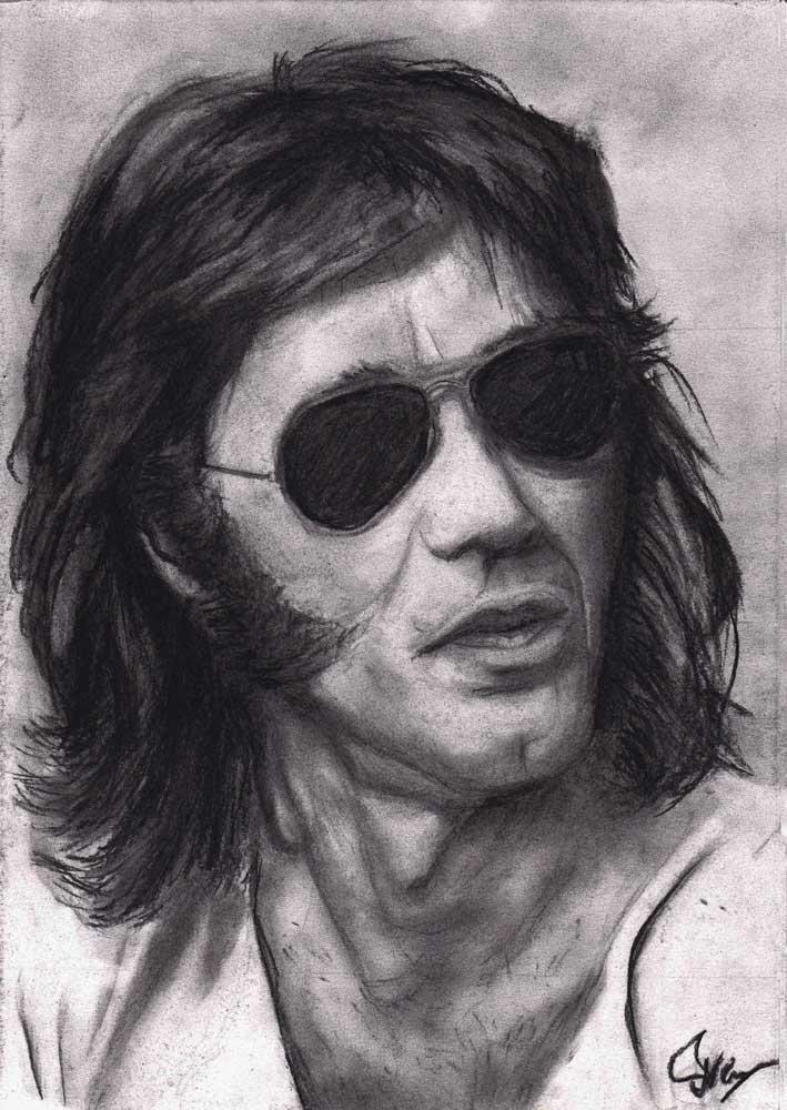 Ray Manzarek houtskool tekening (Sven Bakker)