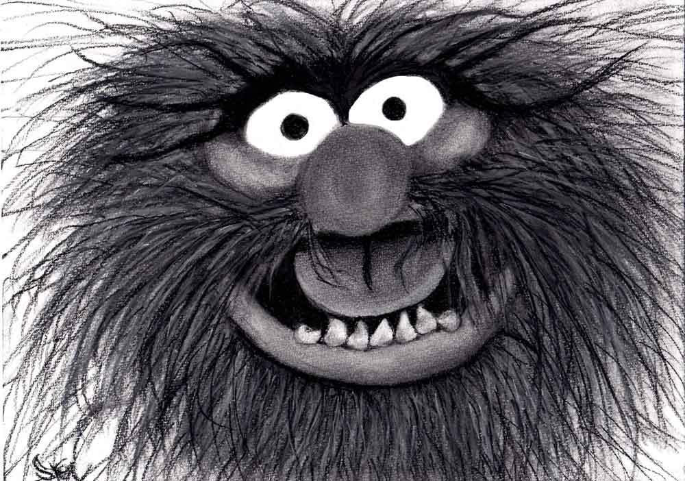 Animal, The Muppes houtskool tekening (Sven Bakker)