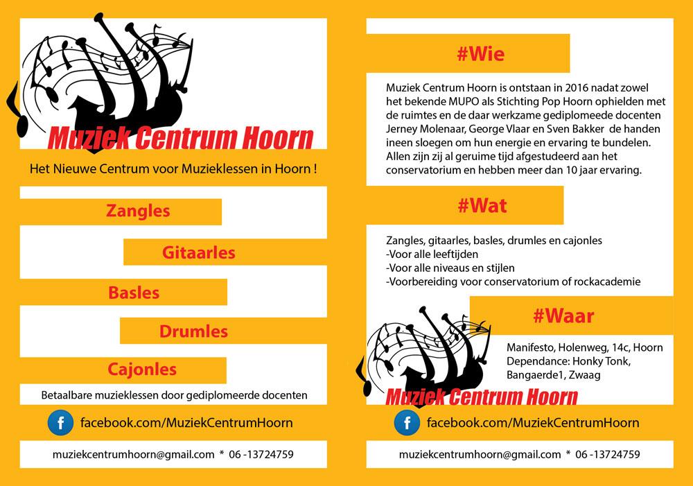 Flyer voor Muziek Centrum Hoorn met logo (Sven Bakker)