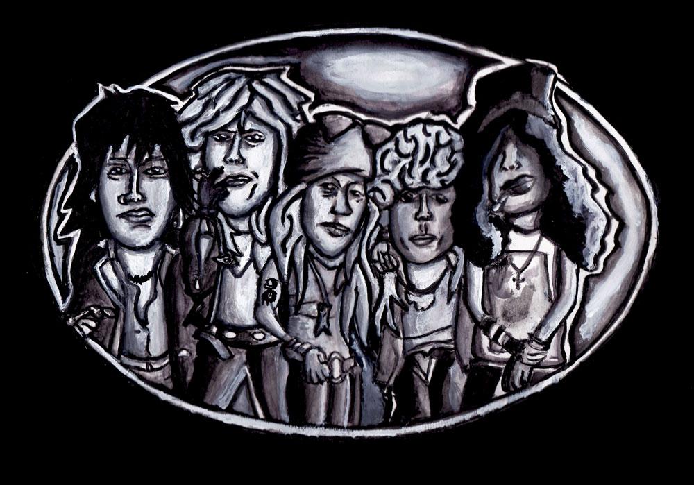 Guns N Roses beltbuckle idee (aquarel) (Sven Bakker)
