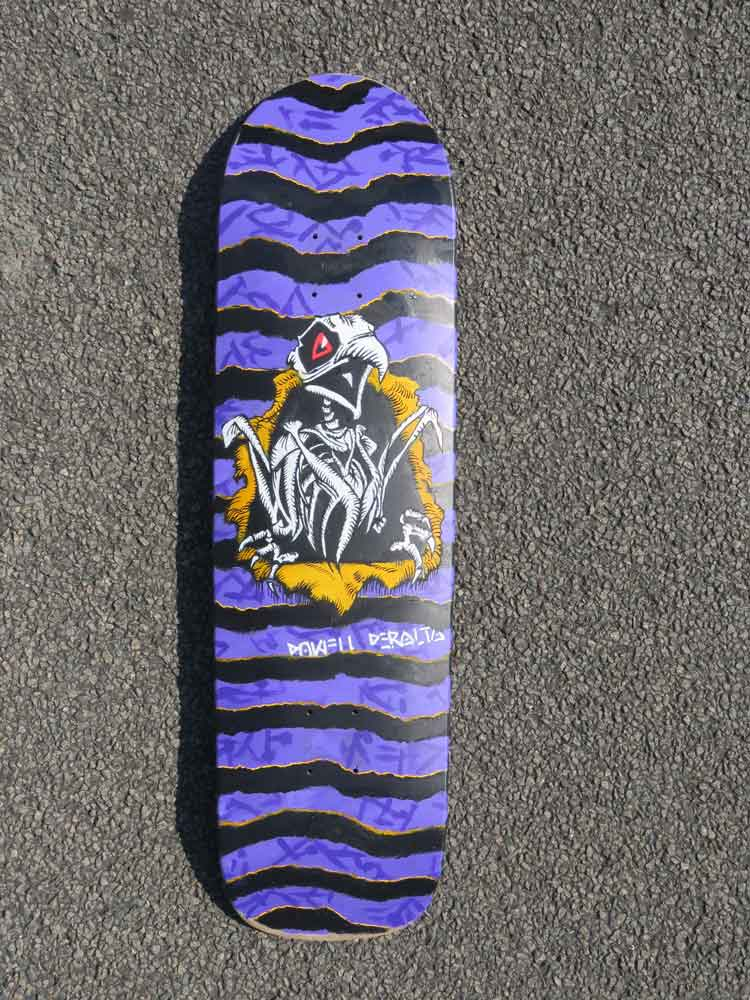Custom art drawing on original Powell Peralta skateboard (Sven Bakker)