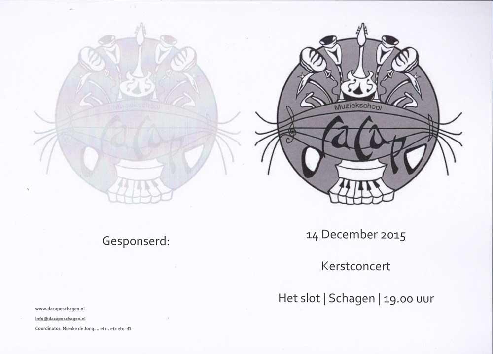 Flyer met logo voor muziekschool Da Capo Schagen (Sven Bakker)